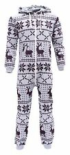 Kids Boys Girls Onesie Soulstar Print Fleece Lined Hooded Deer Light Grey Age 2