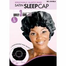 Magic Breathable Elastic Band Satin Sleep Cap L Size 20'' No. 2191BLA