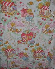 -STRAWBERRY SHORTCAKE vintage Flannel FITTED & FLAT BED SHEET 1980s fabric SSC-