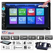 """Double 2 Din 7"""" Car Stereo MP3/MP5 Player HD In Dash Bluetooth Radio Camera US"""