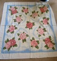 Vintage 50s Printed Cotton Tablecloth  Pink Roses Camelias Flowers Blue 46 x 51