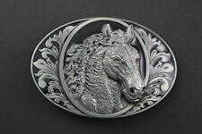 HORSE HEAD 3D METAL BELT BUCKLE HORSE RIDING COUNTRY BLACK OVAL