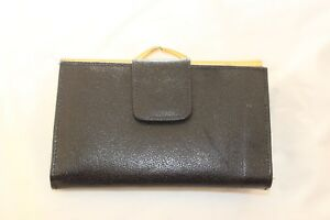 VINTAGE County Purse 1970's Black Real Leather Clasp 6.5 x 4 inches
