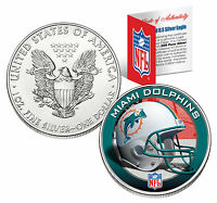 MIAMI DOLPHINS 1 Oz .999 Fine Silver American Eagle $1 US Coin NFL LICENSED