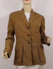 Polo Ralph Lauren Jacket Leather Buttons Womens 14 Brown Cotton
