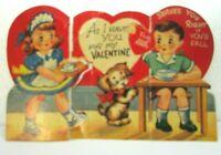 1950s Vintage Valentine Card Die Cut Heart Child Foldout Boy Girl Dog waitress