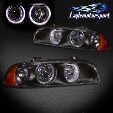 [Dual LED Halo] 1997-2003 Bmw E39 5 Series Black Projector Headlights Pair