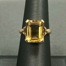 14k Yellow Gold Antique Vintage Emerald Cut Yellow Citrine Ring Size 6.25