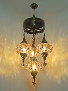 Turkish Mosaic Lamp Chandelier 4 GLOBE