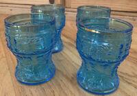 Mid Century Modern Blue Italian Glasses Set of 4 with Gold Rims