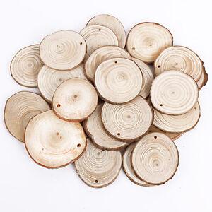 Mayeec Wood Slices 36pcs 2.8-3.2 with Ree Bark Log Discs for DIY Craft Woodburning Christmas Rustic Wedding Ornaments