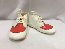 """Vinatage Red and White Leather lace up toddler shoes saddle shoe look 5"""""""