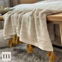 Luxury Cotton Embroidered Neutral Cream / Ochre Bed Sofa Decorative Rustic Throw