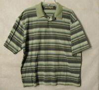 S6477 Ben Hogan Seven Cedars Casino Men's XL Green Striped Short Sleeve Polo