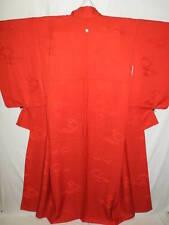 "Red Silk ""Iro-Muji Kimono"" w/1 Family Crest, Clouds, Lozenges B206"
