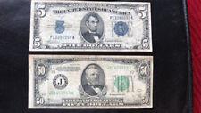 1934 C $50 FRN Tough Kansas City District And 1934 C $5 SC