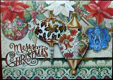 Lot 8 Punch Studio Large 3D Embellished Xmas Cards Ornament Poinsettia Victorian