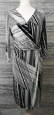 Linea 14 Black White Stripes Pattern Wrap Midi Bodycon V Neck Long Sleeve Dress