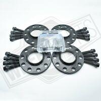 2x12mm + 2x15mm Black Alloy Wheel Spacers Black Bolts Locks BMW 7 Series F01 F02