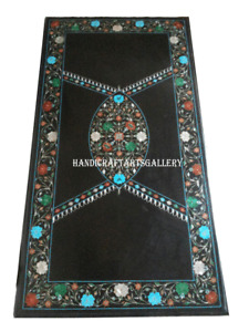 Black Marble Dining Table Top Multi Stone Floral Inlay Hallway Home Decors H963