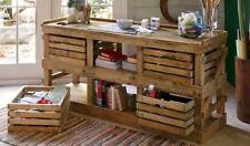 Bancone tavolo credenza realizzato con bancali e cassette frutta col castagno