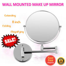 """8"""" Double Sided Wall Mount Swivel Makeup Mirror 10x Magnifying Cosmetic Shaving"""