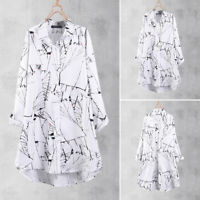 ZANZEA 8-24 Women Long Sleeve Button Down Shirt Top Tee Printed Tunic Blouse