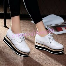 Chic Womens Oxfords Lace Up Shoes Round Toe Platform Brogues Carved College Girl