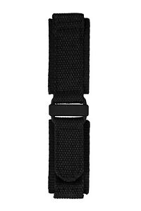 BLACK & PVD HOOK AND LOOP TACTICAL  NYLON MILITARY WATCH STRAP BLACK CLASP 24MM