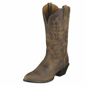 10001021 Ariat Women's Heritage Western R Toe Cowboy Boots Distressed Brown NEW