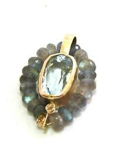 Natural Aquamarine and Labradorite Large Pendant in Solid 14K Yellow Gold Canada
