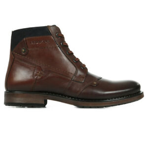 Chaussures Baskets Redskins homme Noyer taille Marron Cuir Lacets