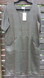 Khaki Front Pocket Linen Dress Short Sleeves NWT sizes 10/12 16/18