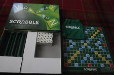 SUPERB MATTEL GAMES SCRABBLE WHITE TILES GREEN LETTERS COMPLETE RARELY PLAYED
