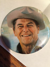 Ronald Reagan for President button pinback Photo with cowboy hat