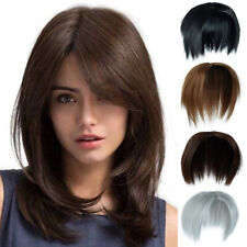 "6""Short 1/2 Full Head Bang Topper Hair Piece As Human Hair Extension Straight US"