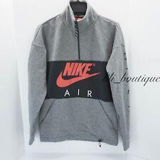 NWT Nike AV3019-091 Men Half Zip Fleece Pullover Sweatshirt Gray Black Red Large