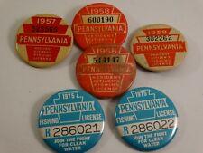 6 Vintage Pennsylvania Fishing License Button Pinback 1957 1958 1959 1975