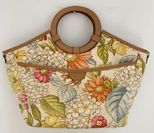 FOSSIL Women Hand Bag Purse Textile Floral Brown Leather Circle Handles