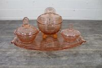 Art Deco Pink Glass Dressing Table Set To Include Tray & Lidded Powder Pot.