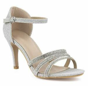 NEW LADIES SILVER SHIMMER MID HEEL ANKLE STRAP DIAMANTE EVENING SANDALS 3-8