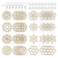 240pcs/Set DIY Wood Charms Dangle Earrings Making Kit 8-Style w/ Hooks Pendants
