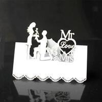 50pcs Romantique Blanc Mr Mrs Marque Place Décoration de Table Mariage