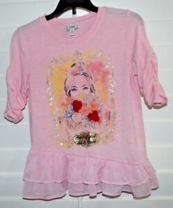 "Girl's DISNEY ""Beauty and the Beast"" top/blouse light sweater 3/4 sleeve M pink"