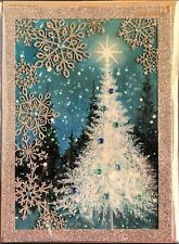 """Papyrus CHRISTMAS Greeting Card """"WHITE FLOCKED CHRISTMAS TREE WITH BLUE BEADS"""""""
