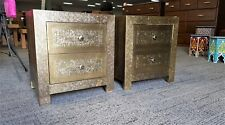 Moroccan Artisan Gold Metal Bedside Table/Night Stand With Drawer Storage