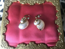 Betsey Johnson Vintage Gold Plated White Sea Snail Hermit Crab Shell Earrings