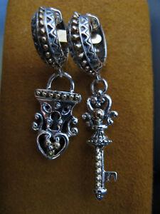 BARBARA BIXBY KEY LOCK EARRINGS BEADED CARVED HOOP SS18K Gift