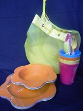 Summerville 25-Piece Picnic Set - Yellow Nylon Picnic Tote Bag (Nwot)