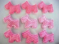 60 Felt+Plaid+Satin Polka Dot Padded Scottie Dog Puppy Applique/Craft H319-Pink
